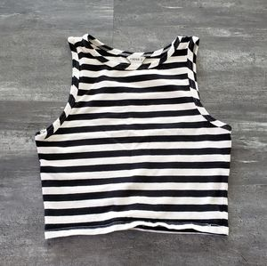 Black White Striped F21 Cropped High Neck
